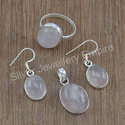 Fancy Rose Quartz Gemstone Sterling Silver New Jewelry Set