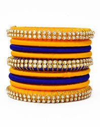 Yellow and Blue Silk Thread Bangle