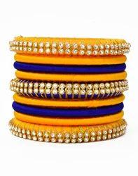 Yellow and Blue Silk Thread Bangle