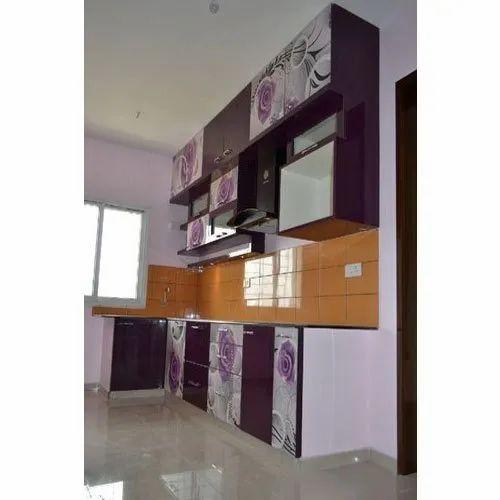 Wooden Hettich Digital and Glossy Finish L Shape Modular Kitchen, Warranty: 5-10 Years, Kitchen Cabinets