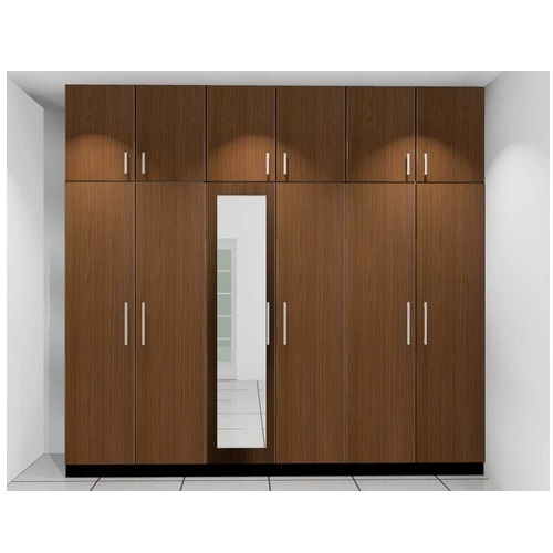Brown PVC Home Wardrobe With Mirror, Warranty: 2 Year