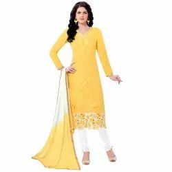 Yellow Colored Glace Cotton Embroidery Unstitched Casual Wear Salwar Suit