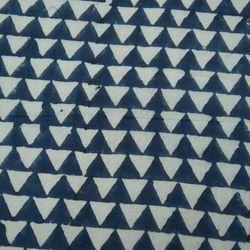 Triangle Indigo Blue Fast Color Hand Block Print Cotton Fabric
