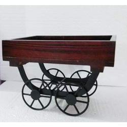 Natural Wood Decorative Wooden Cart, For HOME DECOR