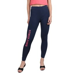 Ladies Navy Fitness Studio Pink Print Track Pant