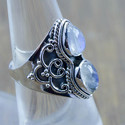 925 Sterling Silver Designer Two Rainbow Moonstone Ring Wr-5250