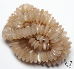 Wheel German Cutting Peach Moonstone Beads