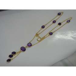 Amethyst Gold Plated Bezel Set Necklace