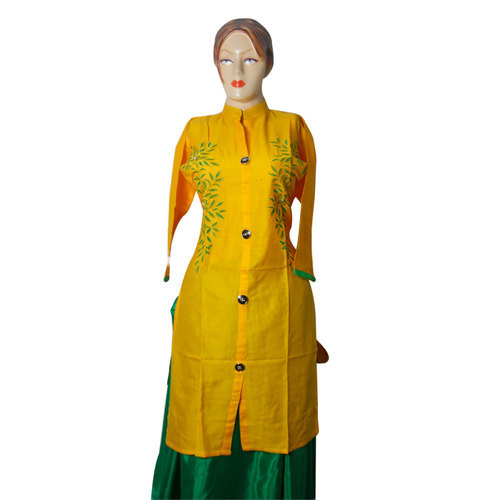 Cotton Yellow 3 4th Sleeve Embroidery Kurti Rs 285 Piece Id