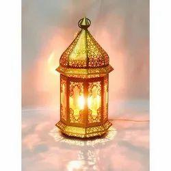 Handmade Golden Metal Wedding Decorative Lamps, For Decoration
