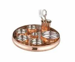 10 Pcs Copper & Steel Curved Thali Set