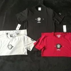 Round Mens Designer Printed Cotton T Shirt