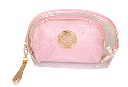 Cosmetic Pink Color Toiletry Pouches, Size: 26 x 8 x 16 cm