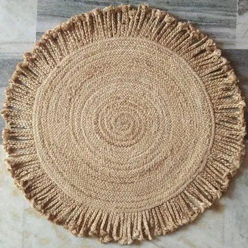 Plain Brown Designer Natural Jute Round, Round Designer Rugs