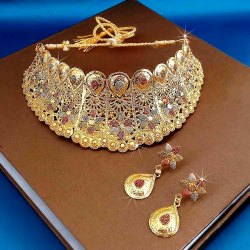 JewelEMarket Forming Gold Plated Traditional Designer Necklace & Earring Set -1115005