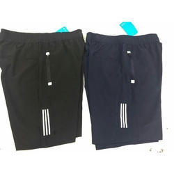Black And Navy Blue Polyester Shorts