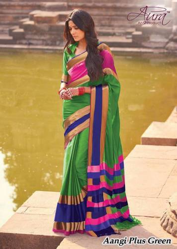124b07370a Aura Present Green Colour Pure Cotton Silk Saree With Blouse at Rs ...