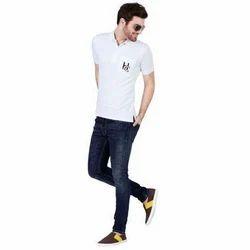 Mens White Polo T Shirt