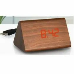 Triangle LED Wooden Clock