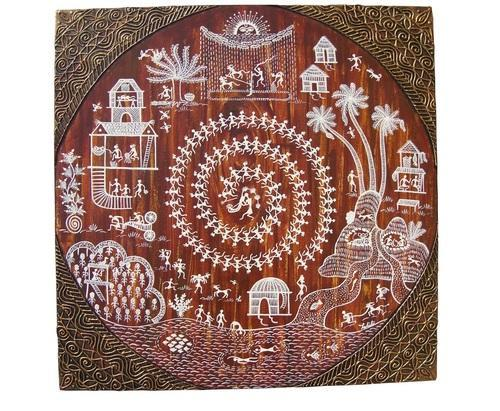 Warli painting in brown canvas large villagers performing at rs warli painting in brown canvas large villagers performing thecheapjerseys Image collections