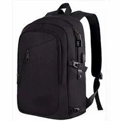 Polyester Plain Black School Bag