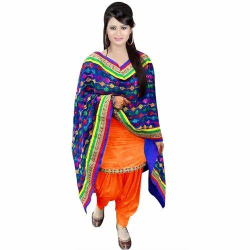 1412b6e9b6 Medium And Large Chiffon Ladies Phulkari Patiala Suit, Rs 3100 ...