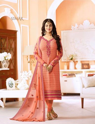 6ff9cc9163 Georgette Glossy Simar Sheenaz Wholesale Straight Long Suits, Rs ...