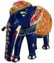 Metal Meenakari Elephant Statue Enamel Work Sculpture