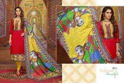3/4 Sleeve Embroidered Sulu Salwar Suit Fabric