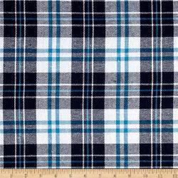Blue & White Plaid Design Flannel Fabrics