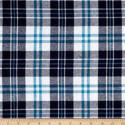 Blue & White Plaid Design Flannel Fabrics