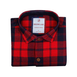 Red Blue Solid Check Shirt