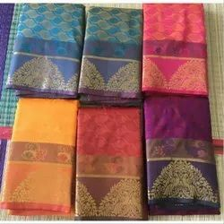 Poly Cotton Saree, 6.3 m (with blouse piece)