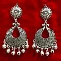 Silver Plated Oxidized Earring Set