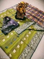 Banarasi Silk Traditional Wear Green Sarees With Blouse Piece
