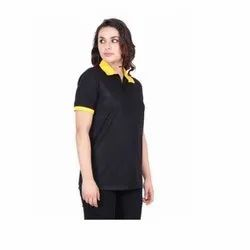 UB-D-Tee-05 Black & Yellow Designer Polo T-Shirt For Female