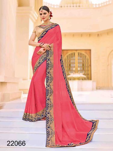 a5db7d9df7b111 Moss Chiffon Pink Color Party Wear Saree, Rs 1260 /piece, Gunj ...