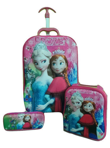 9291427989d Children 3D 3Pcs Cartoon Trolley School Bag Set - Frozen at Rs 1600 ...