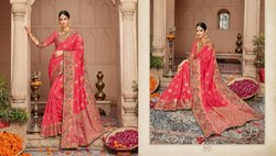 Party Wear Printed Beautiful Silk Saree with Blouse Piece