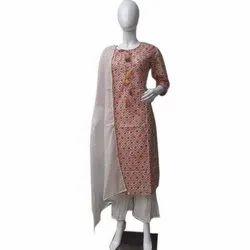 Stitched Ladies Printed Cotton Palazzo Suit, Machine Wash
