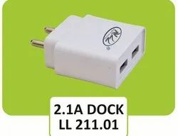 2.1 A Dock Travel Faster Double USB Mobile Charger