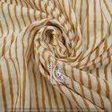 Small Stripe Brown Natural Color Hand Block Print Cotton Fabric