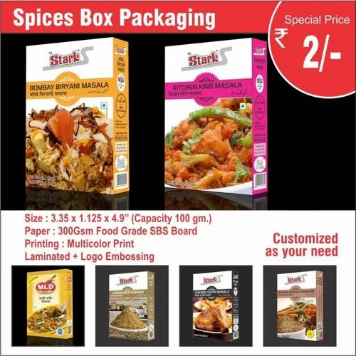 Paper Multicolor Spices Box Packaging