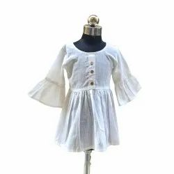Cotton Female White Classy Top For Kids, Age: 1-8 Yrs