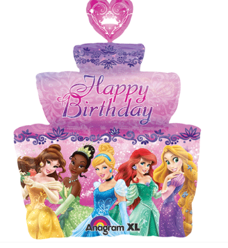 Happy Birthday Princess Cake Super Shape Foil Balloon