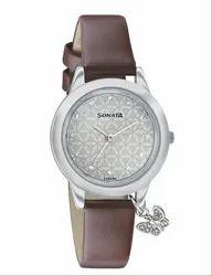 Brown Sonata White Dial Analog Watch