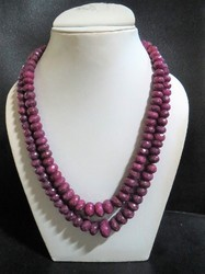 Natural Ruby Faceted Rondelle Stone Beaded Necklace