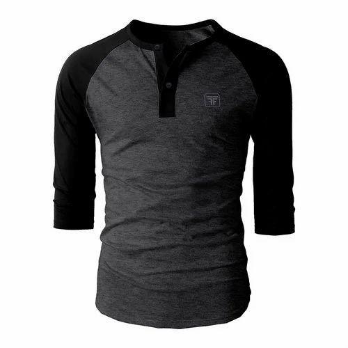 b1035a8ea787 Cotton Black And Grey Plain Mens Stylish T Shirt, Rs 140 /piece | ID ...