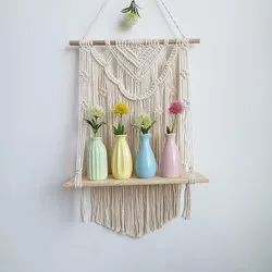 Wall Decor NATURAL MACRAME WOOD SHELF, For Home Decoration, Size/Dimension: 17 X 33 Inch