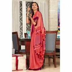 Fancy Cotton Saree, 6.5 Meter (With Blouse Piece)